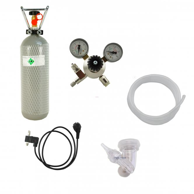 aquaristic.net CO2 complete plant reusable system with 2000 g bottle, with magnetic valve