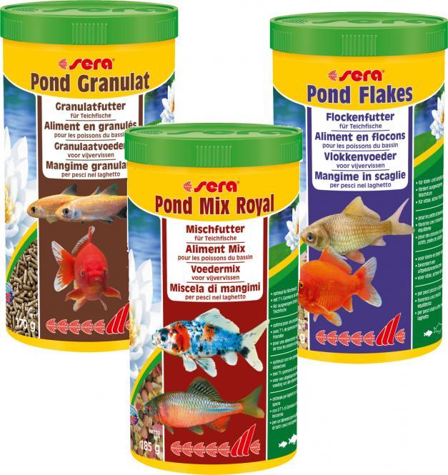 sera Pond Granulat + Pond Flakes + Pond Mix Royal - 3x 1000 ml
