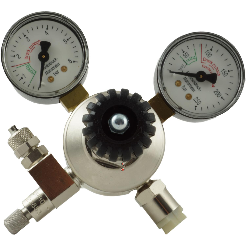 CO2 Druckminderer mit 2 Manometer + Nadelventil - Mehrwegsystem